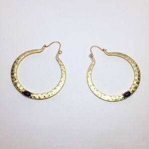 Anthropologie Jewelry - NWT Anthropologie Black Stone Hoop Earrings